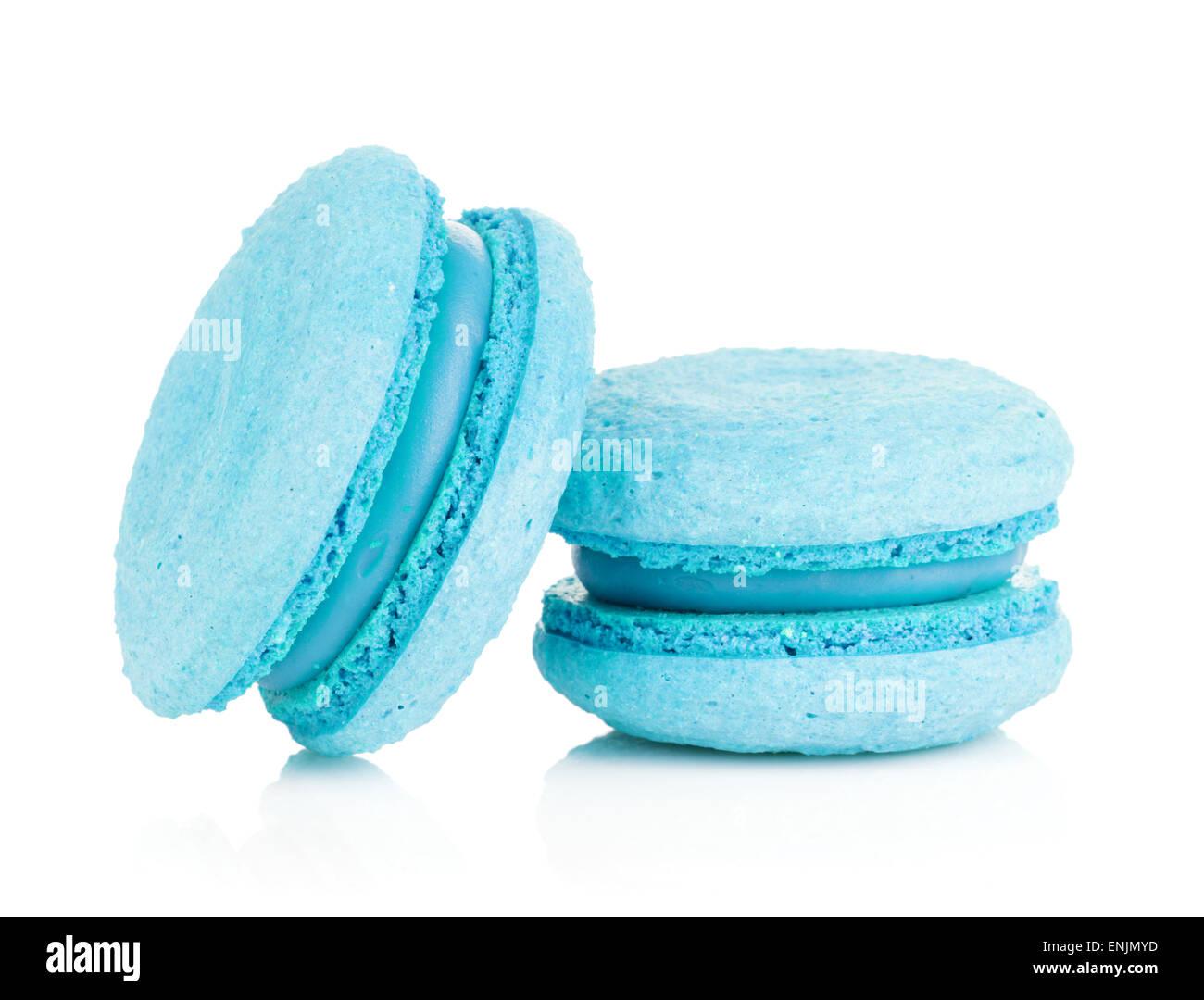 Blue macarons. Isolated on white background - Stock Image