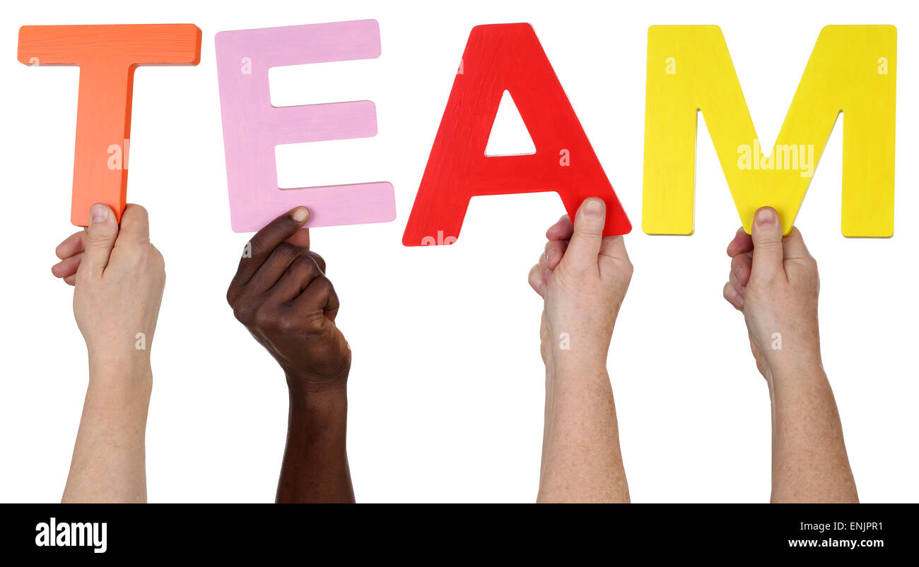 Multi ethnic group of people holding the word Team isolated - Stock Image