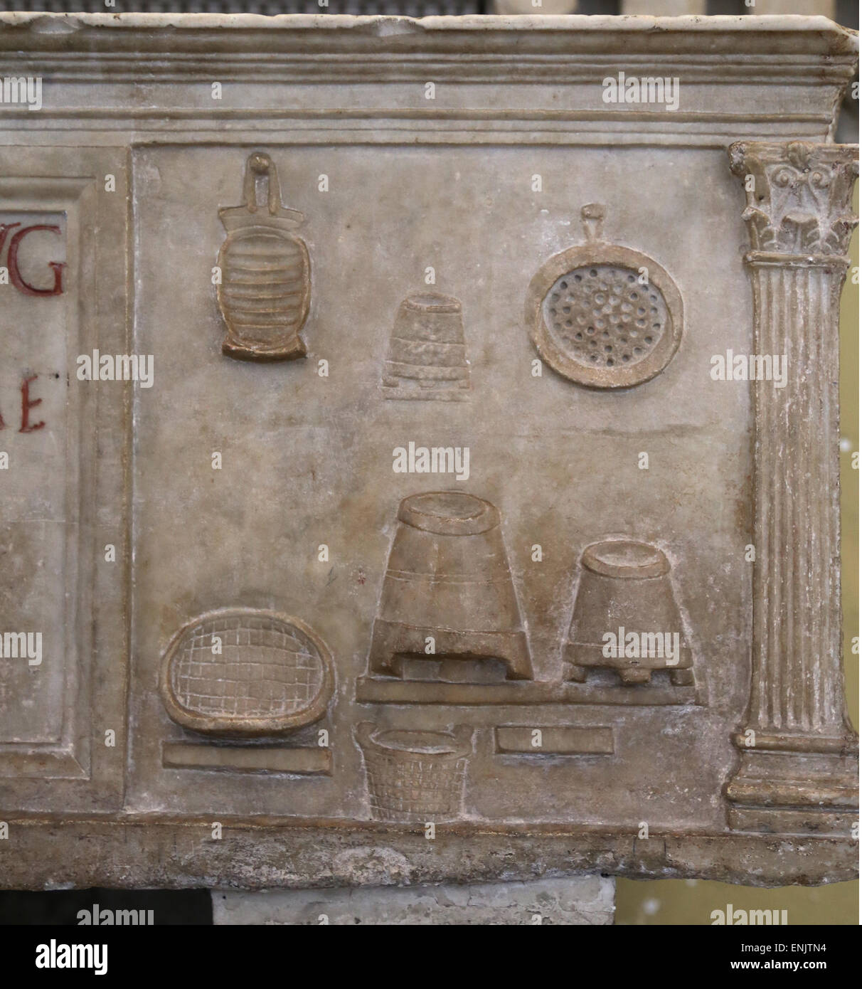 Urn holder of the miller Publius Nonius Zethus. From Ostia. The reliefs depict scenes of the miller's work: - Stock Image