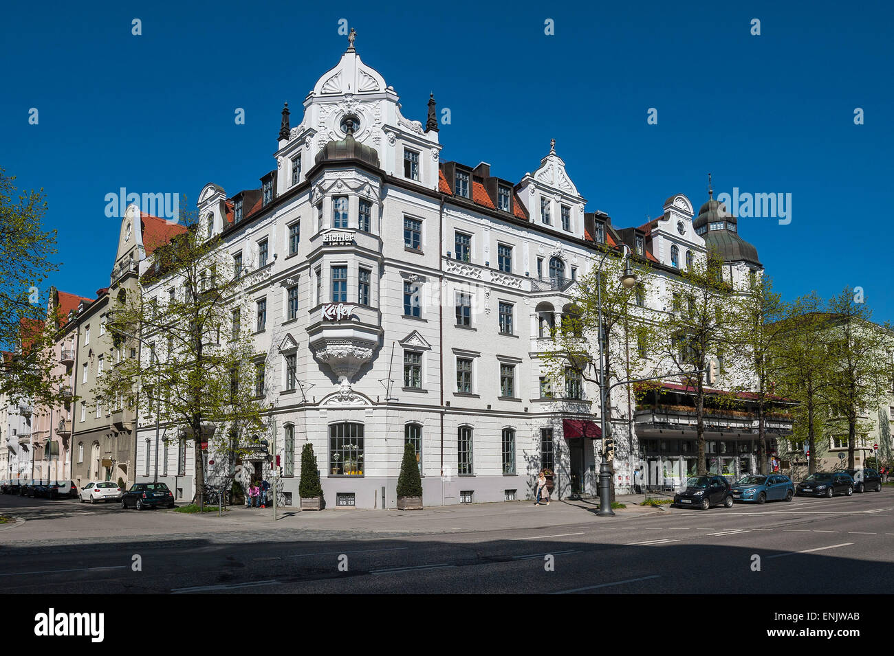 Mansion facade, Feinkost Käfer, Munich, Upper Bavaria, Bavaria, Germany - Stock Image
