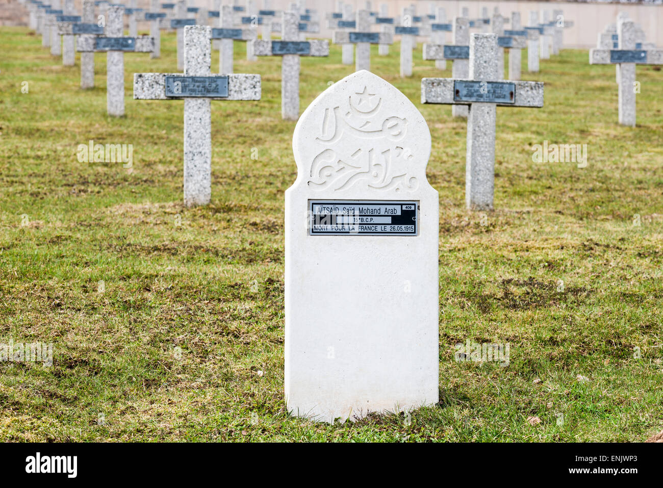 Grave stone for a Muslim, French National Cemetery Silberloch, Hartmannswillerkopf, national monument of World War - Stock Image