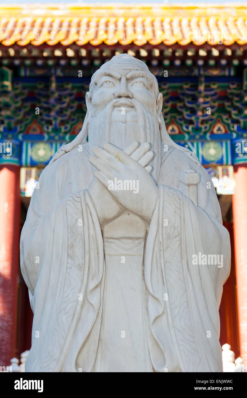 Marble statue, philosopher, Confucius Temple, Beijing, People's Republic of China - Stock Image
