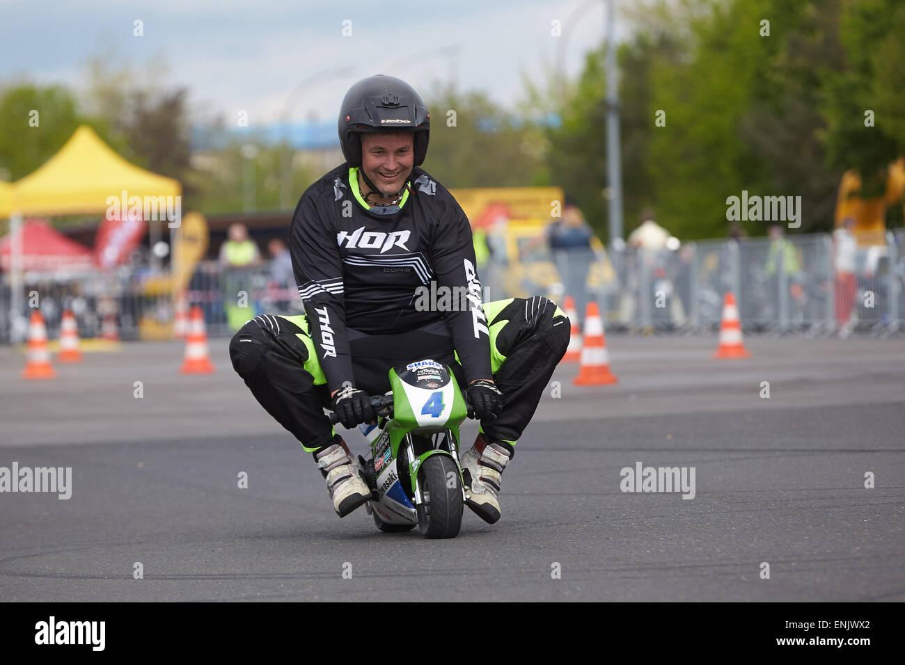 Motorcycle stuntman Mike Auffenberg on a minibike during the ADAC motorbike startup day, Koblenz, Rhineland-Palatinate, Stock Photo