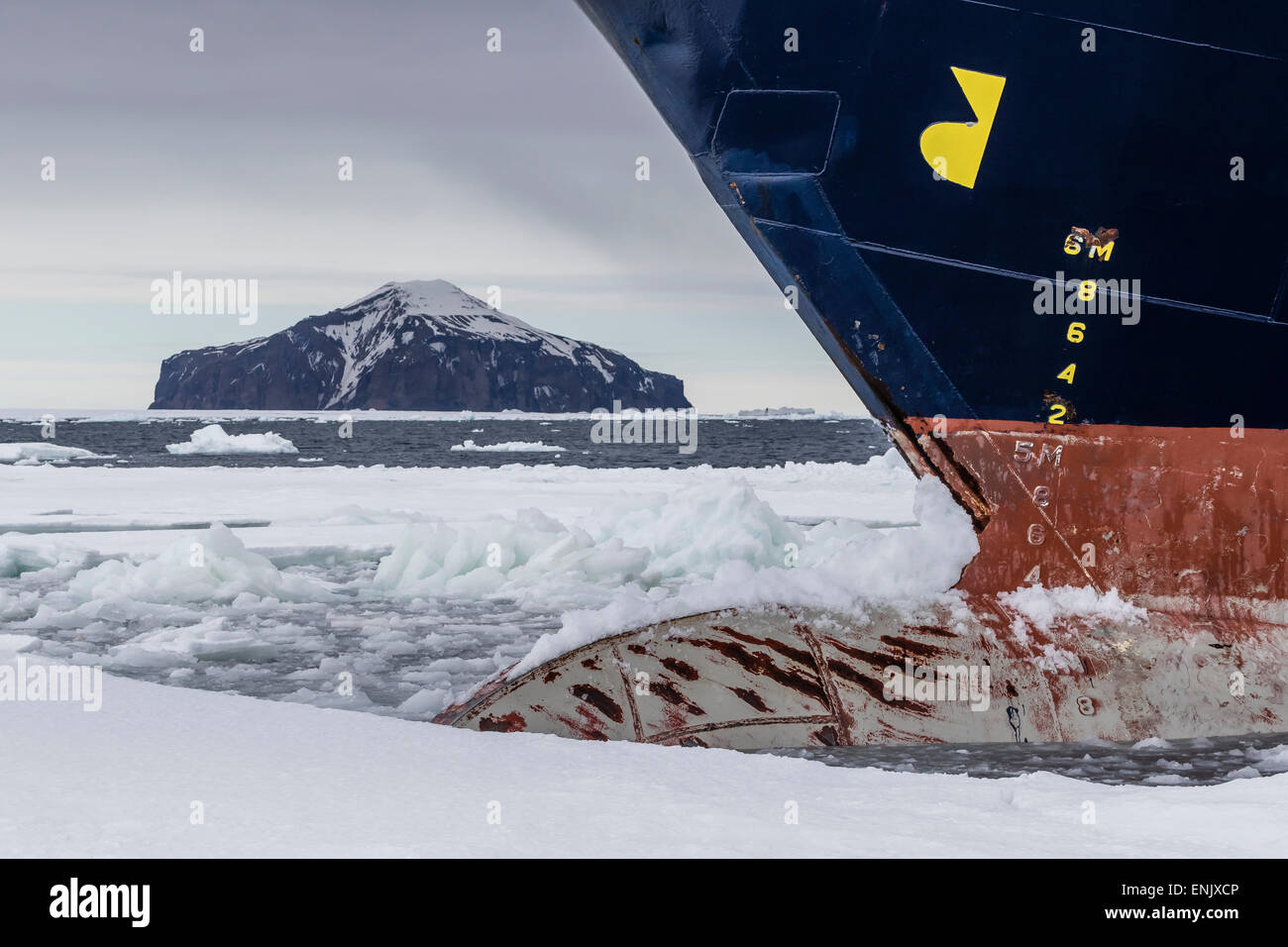 The Lindblad Expeditions ship National Geographic Explorer in Shorefast Ice, Antarctic Sound, Antarctica, Polar - Stock Image