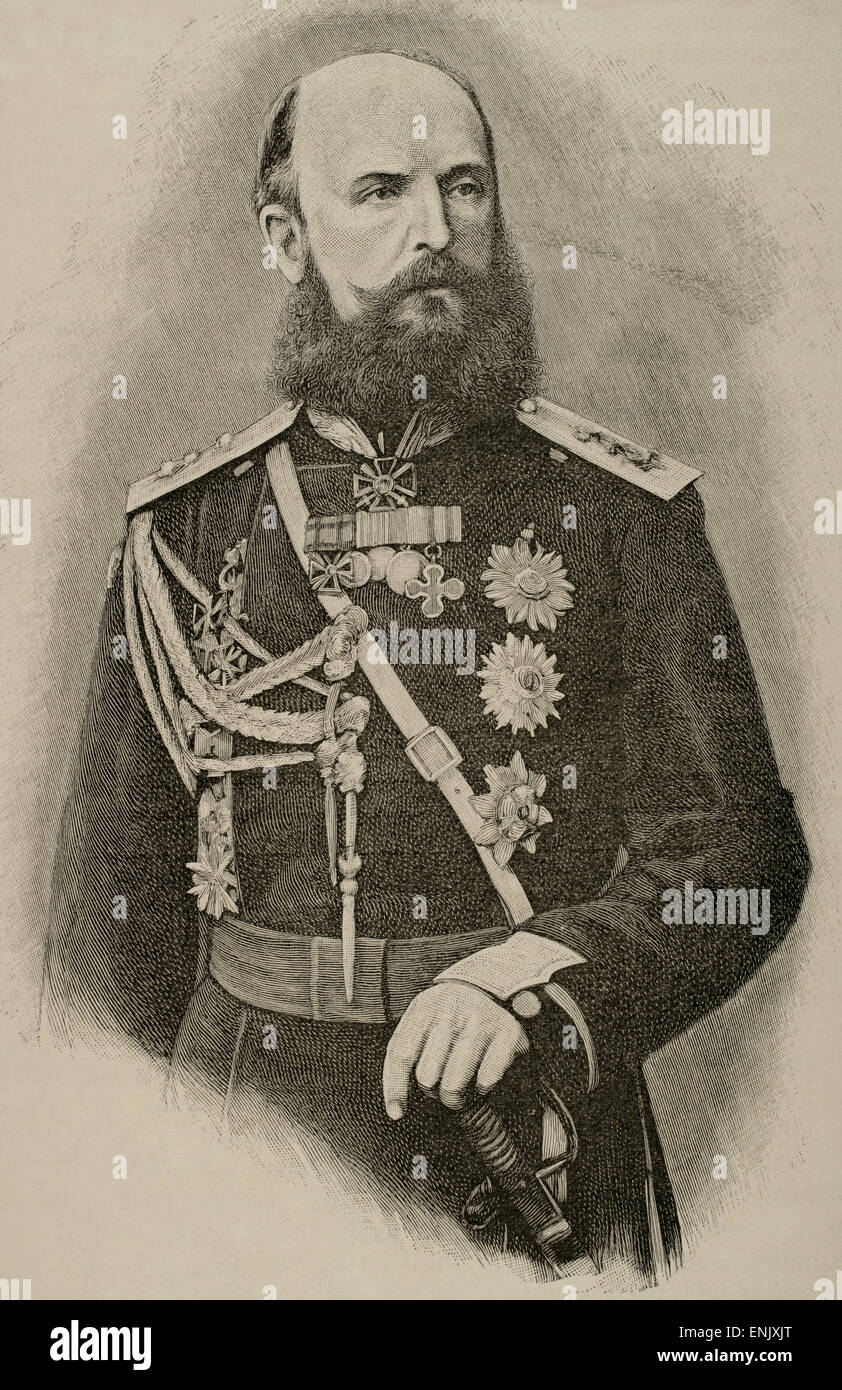 Nikolai Wassiljewitsch baron of Kaulbars (1842-1905). General of the Russian army and military writer. Engraving. - Stock Image