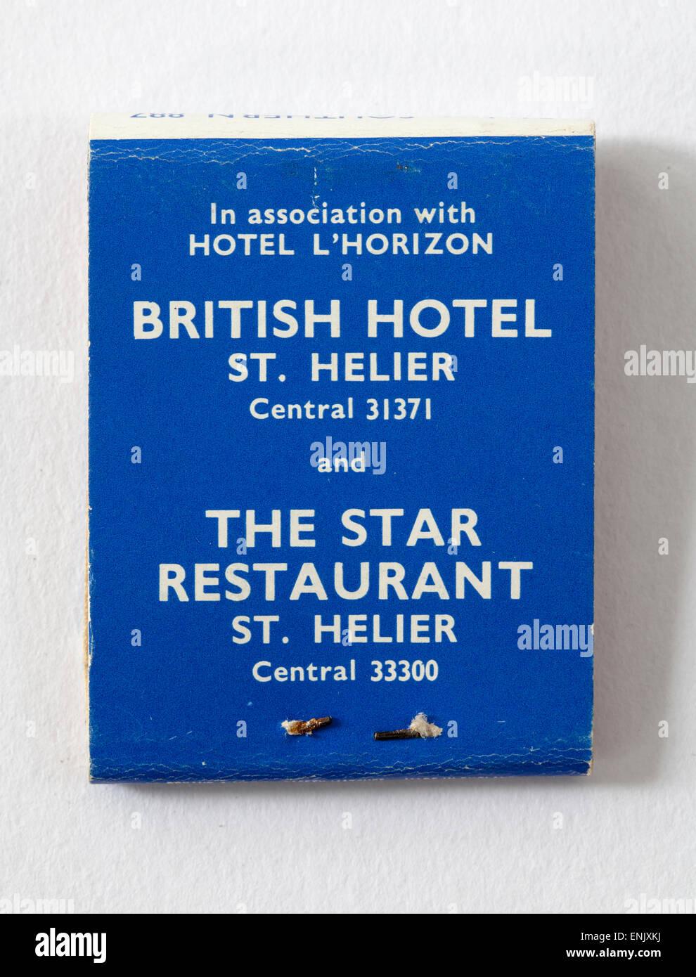 Vintage Matchbook advertising  Hotel L'Horizon  British Hotel St Helier Star Restaurant Jersey Channel Islands - Stock Image