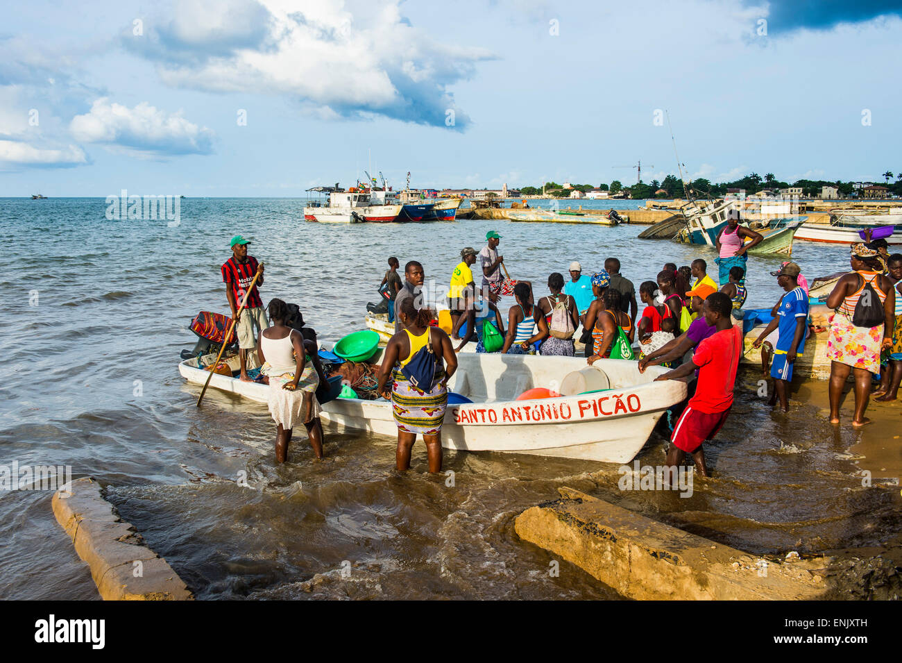 Fishermen selling their fresh fish, city of Sao Tome, Sao Tome and Principe, Atlantic Ocean, Africa - Stock Image