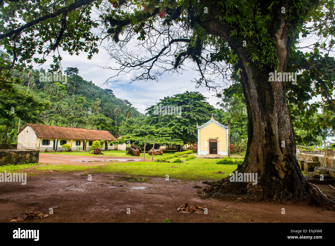 Old plantation Roca with a little chapel, Ilheu das Rolas, Sao Tome and Principe, Atlantic Ocean, Africa - Stock Image