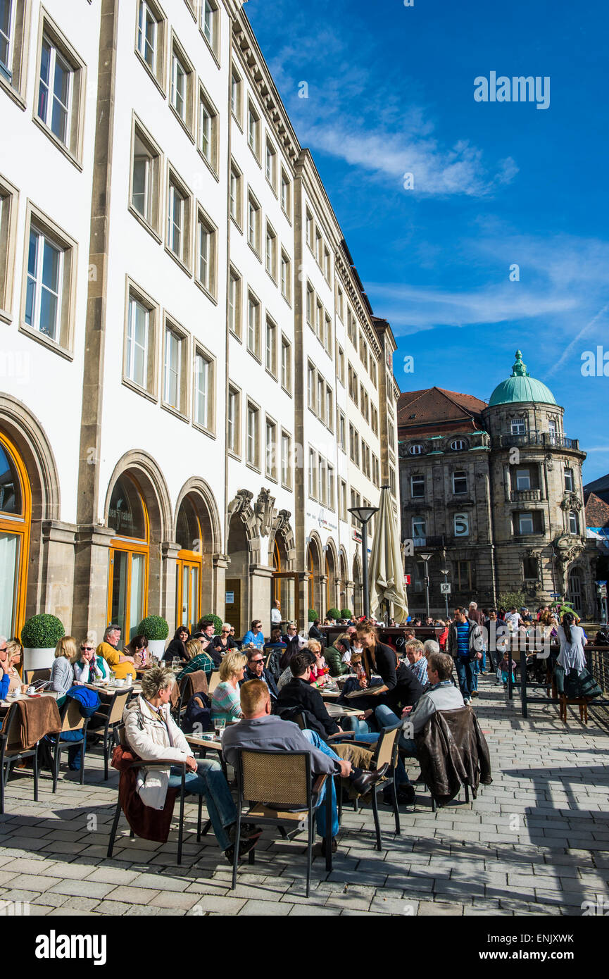 Open air cafe in the center of Bayreuth, Upper Franconia, Bavaria, Germany, Europe - Stock Image