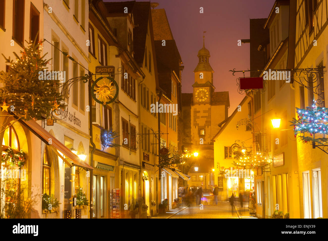 Hafengasse Street and the Markusturm at Christmas, Rothenburg ob der Tauber, Bavaria, Germany, Europe Stock Photo