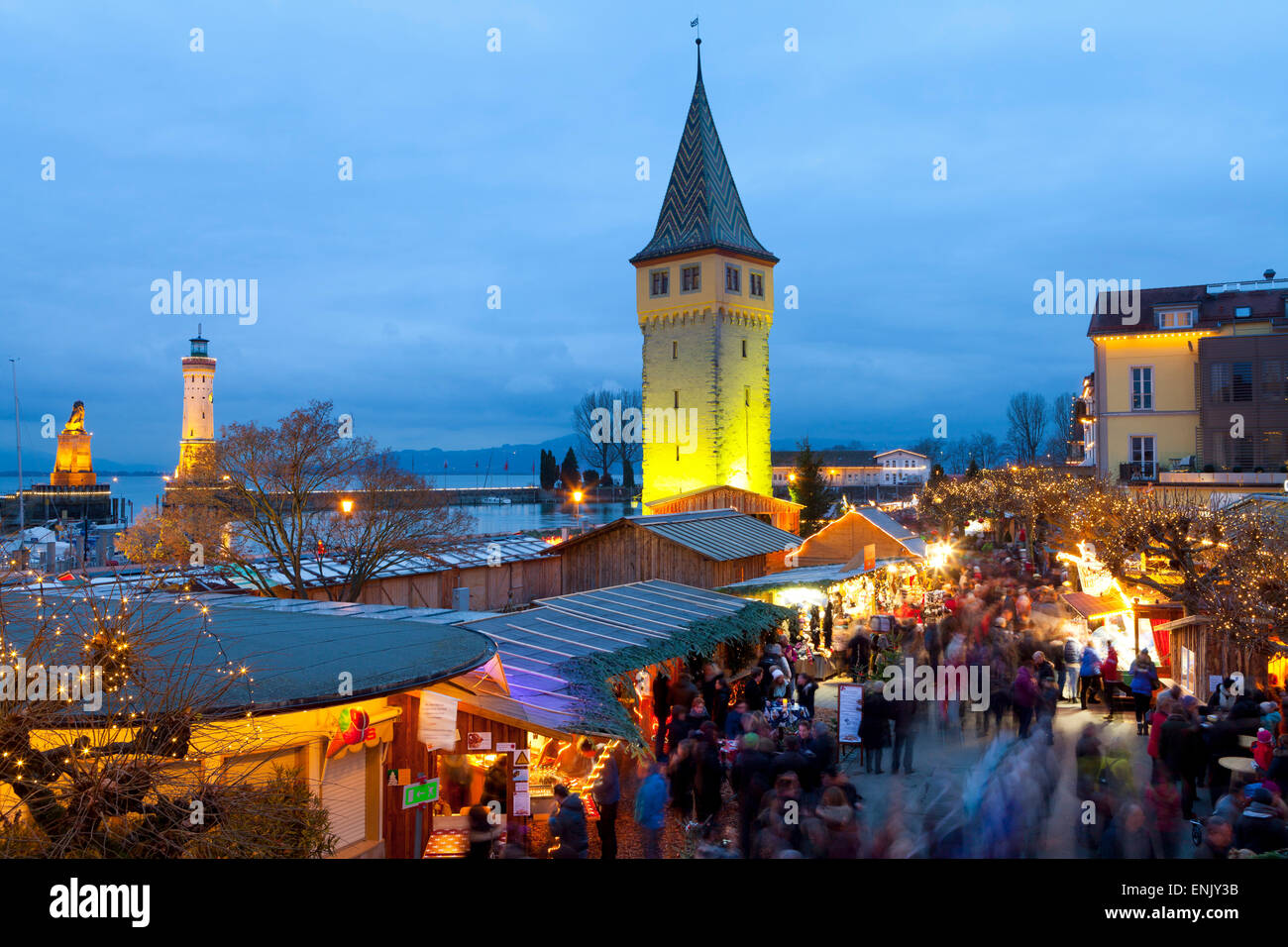 Christmas Market along Lindau's Historic Port, Lindau im Bodensee, Germany, Europe - Stock Image