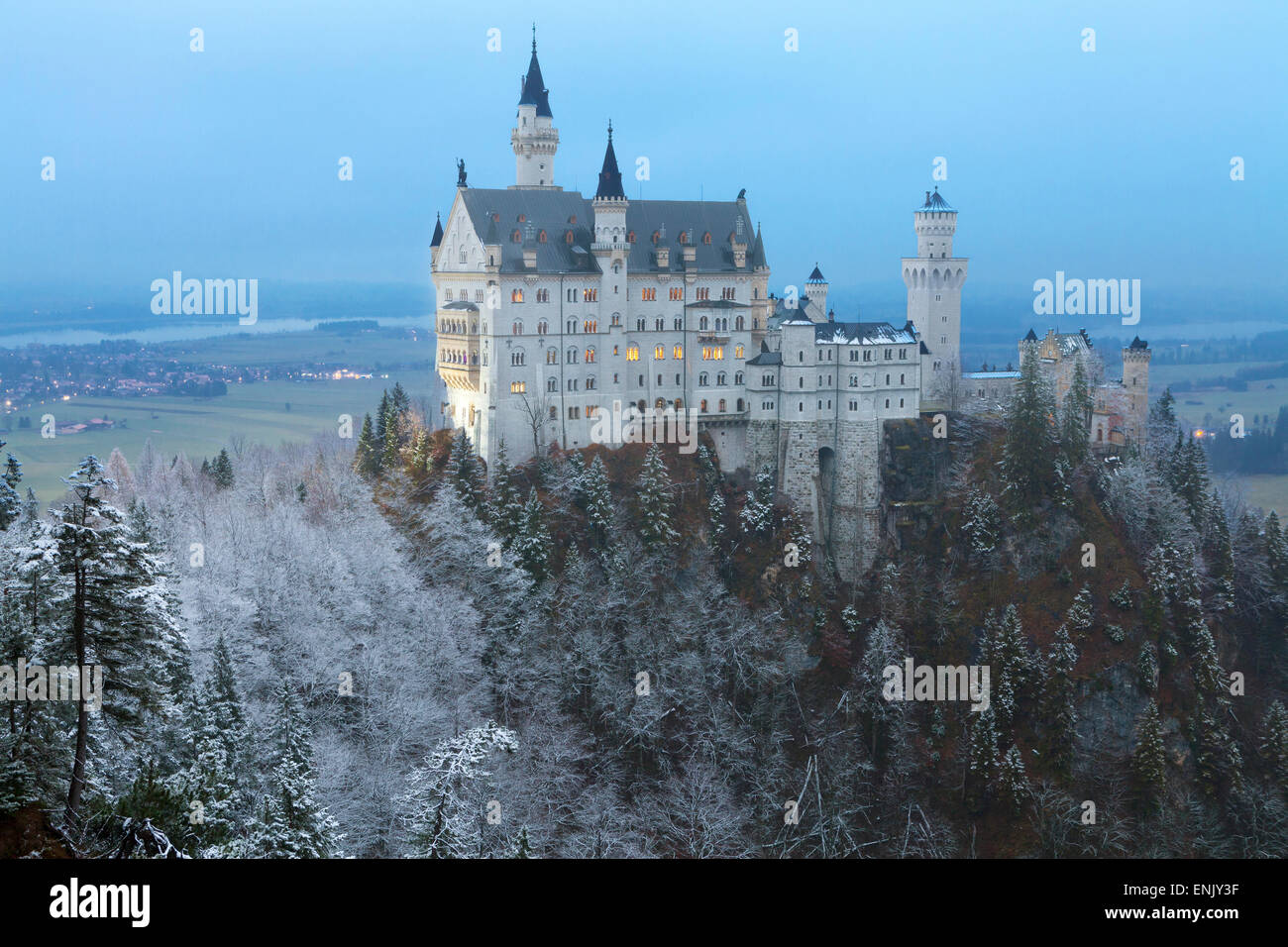Neuschwanstein Castle in winter, Fussen, Bavaria, Germany, Europe - Stock Image