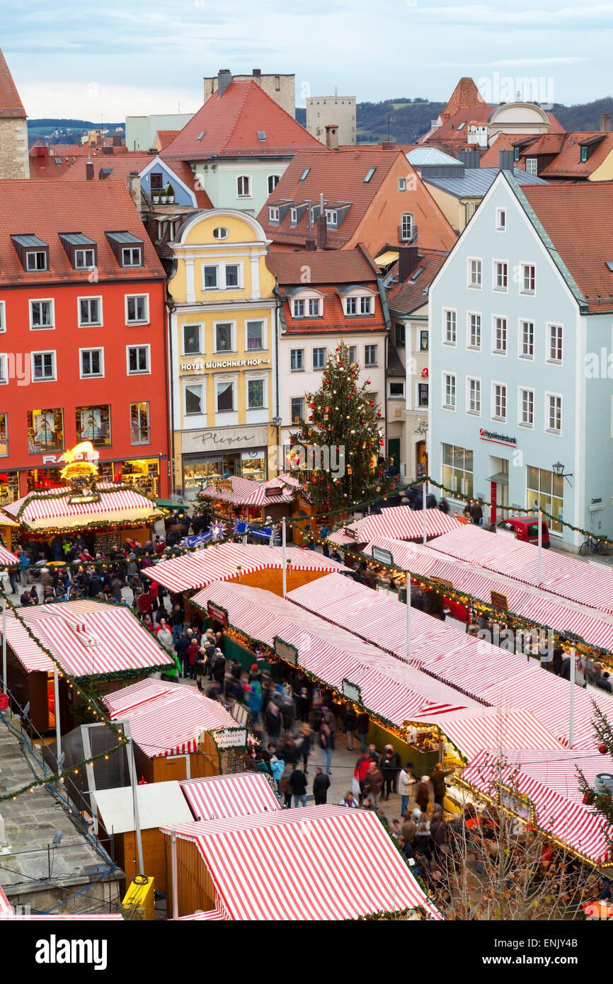 Overview of the Christmas Market in Neupfarrplatz, Regensburg, Bavaria, Germany, Europe - Stock Image