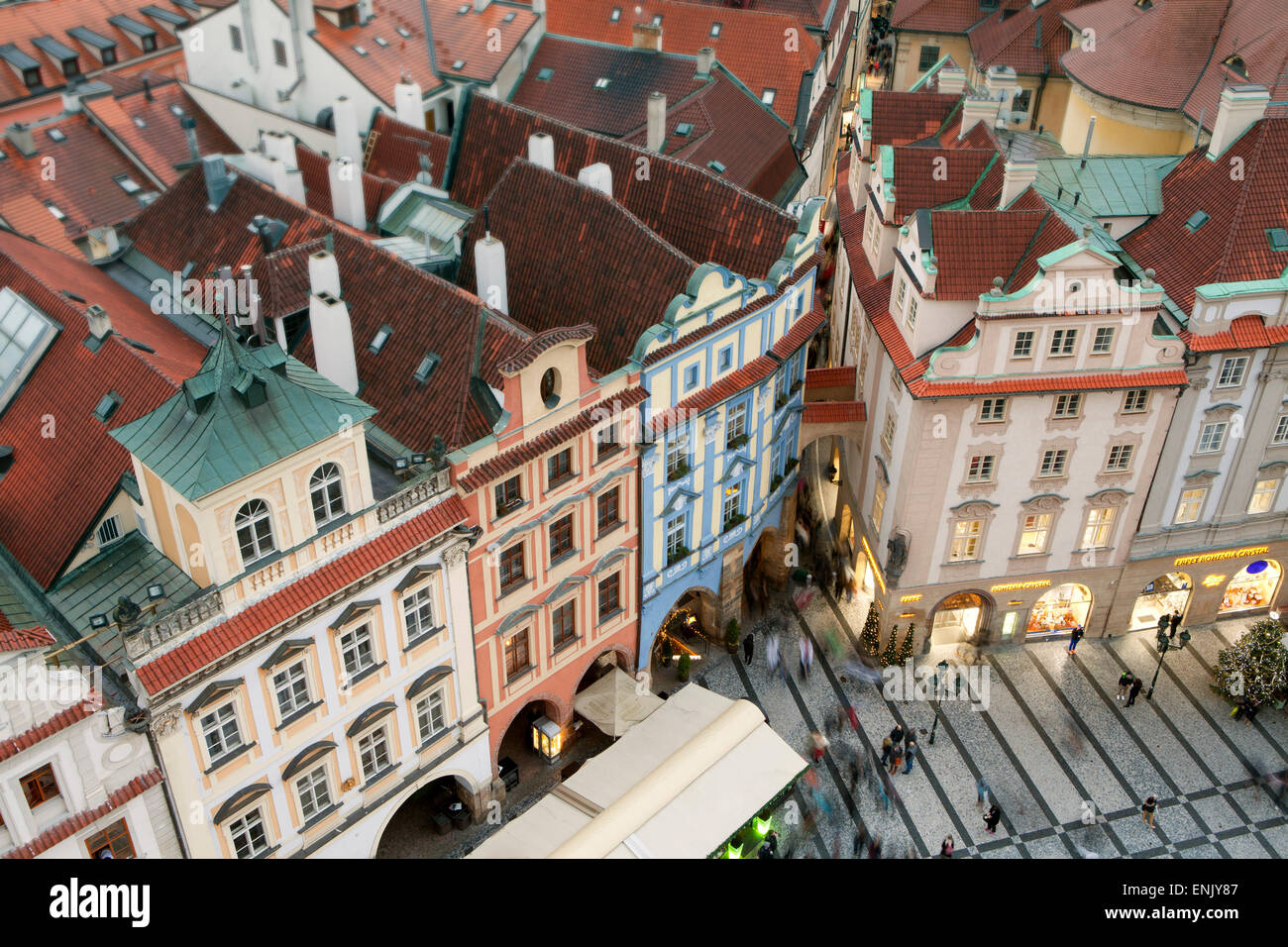 Overview of buildings on the Old Town Square, UNESCO World Heritage Site, Prague, Czech Republic, Europe - Stock Image