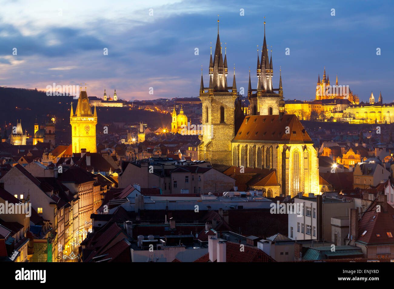Overview of the Historic Centre at sunset, Prague, Czech Republic, Europe Stock Photo