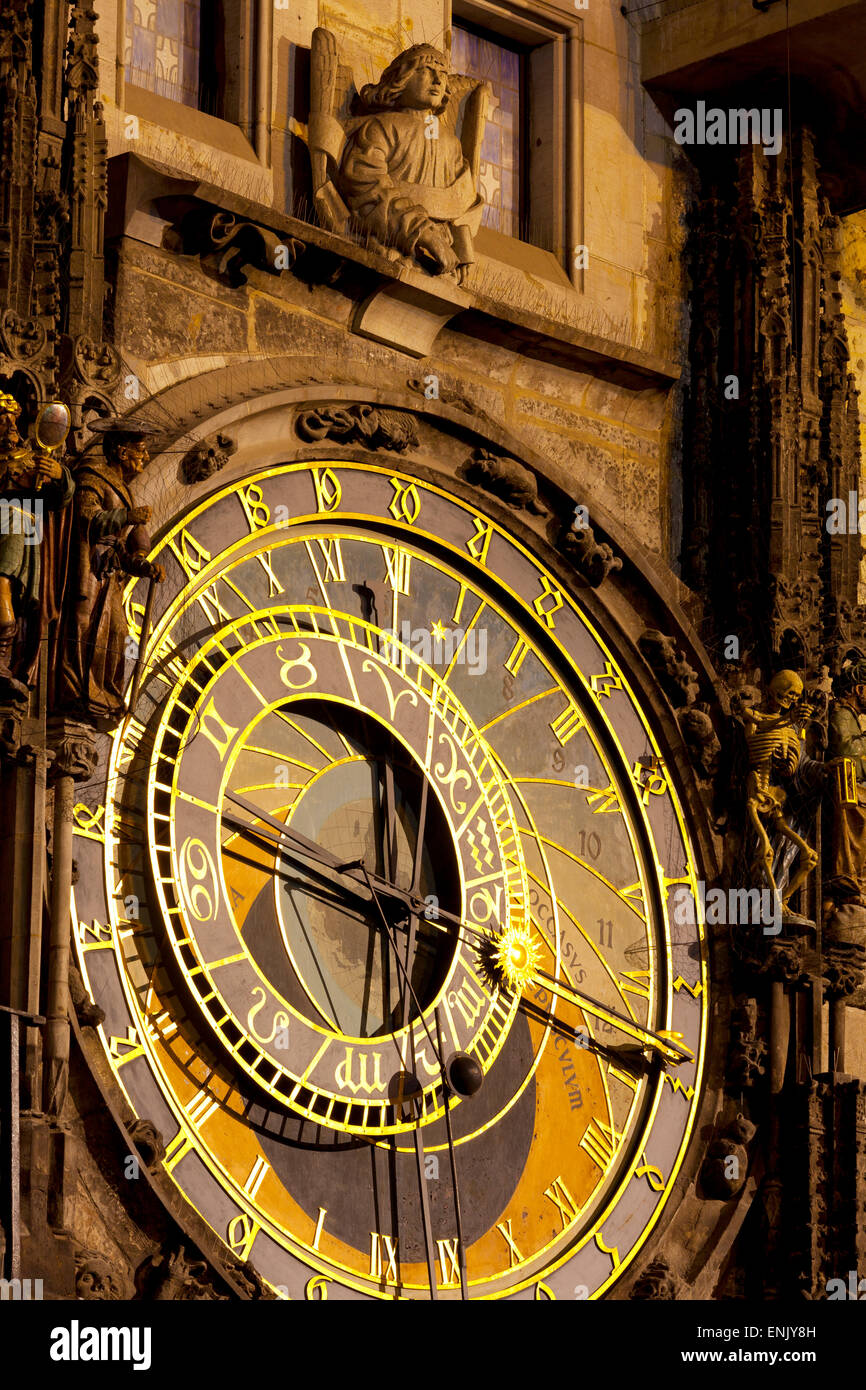 Astronomical Clock on the Town Hall, Old Town Square, UNESCO World Heritage Site, Prague, Czech Republic, Europe - Stock Image