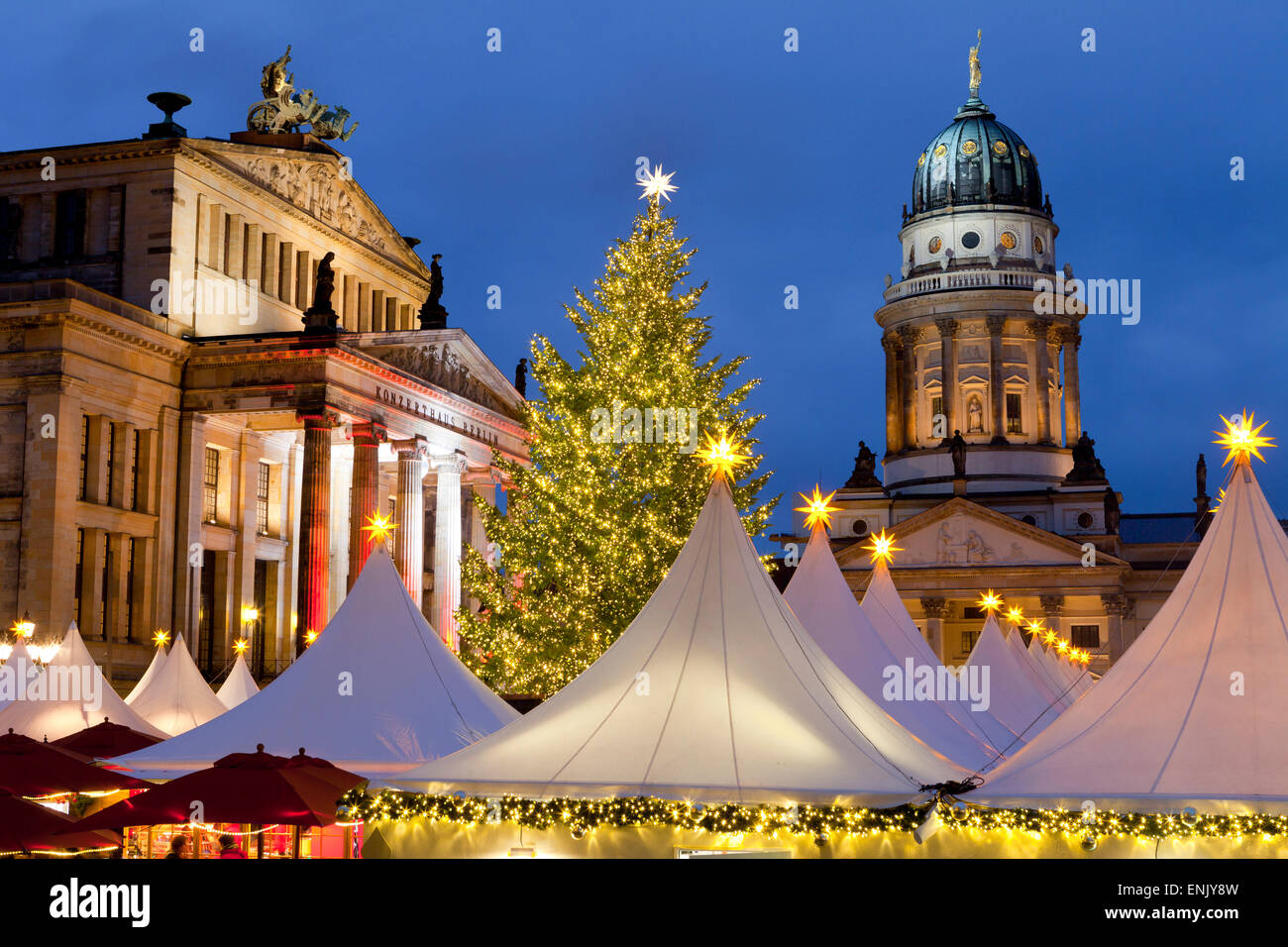 The Gendarmenmarkt Christmas Market, Theatre, and French Cathedral, Berlin, Germany, Europe - Stock Image