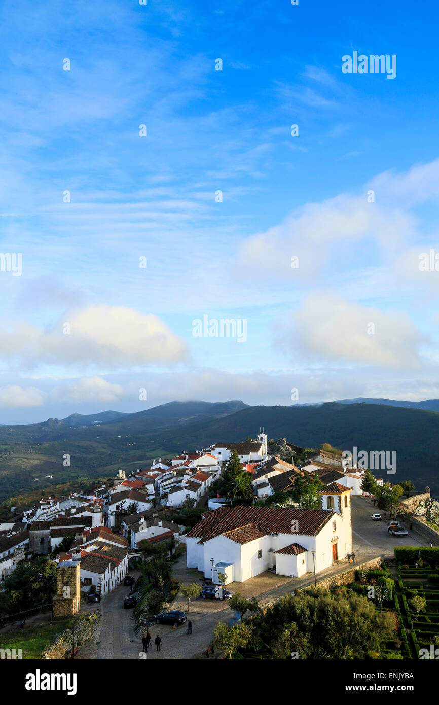 The 15th century parish church, medieval town and the Serra do Sao Mamede mountains, Marvao, Alentejo, Portugal, - Stock Image