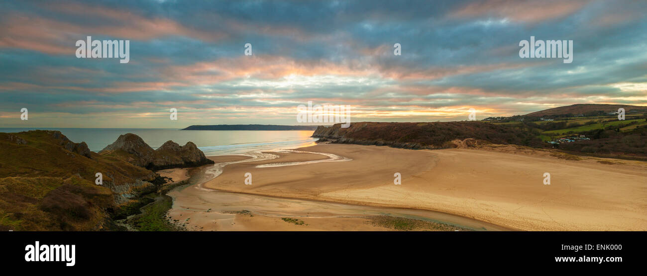 Three Cliffs Bay, Gower, Peninsula, Swansea, West Glamorgan, Wales, United Kingdom, Europe Stock Photo
