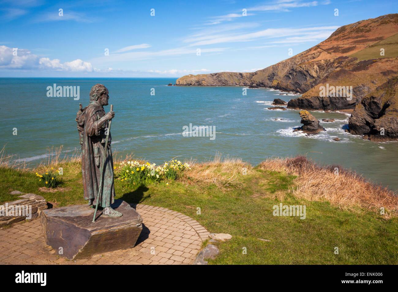 Statue of St. Carannog, Llangrannog Beach, Ceredigion (Cardigan), West Wales, Wales, United Kingdom, Europe - Stock Image