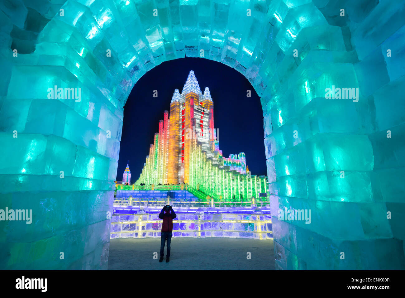 Spectacular illuminated ice sculptures at the Harbin Ice and Snow Festival in Harbin, Heilongjiang Province, China, Stock Photo