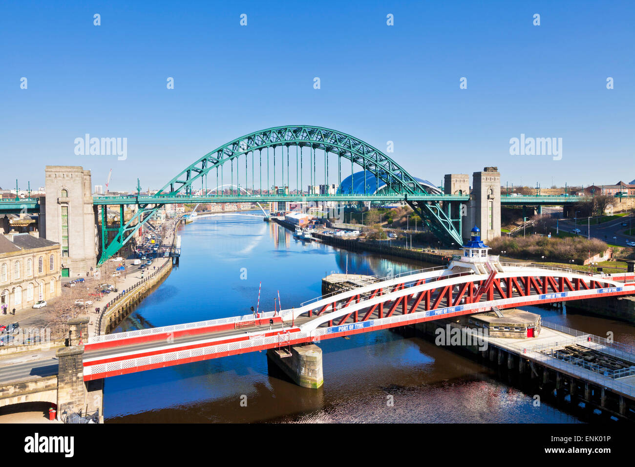 Newcastle upon Tyne city with Tyne Bridge and Swing Bridge over River Tyne, Gateshead, Tyne and Wear, England, United - Stock Image