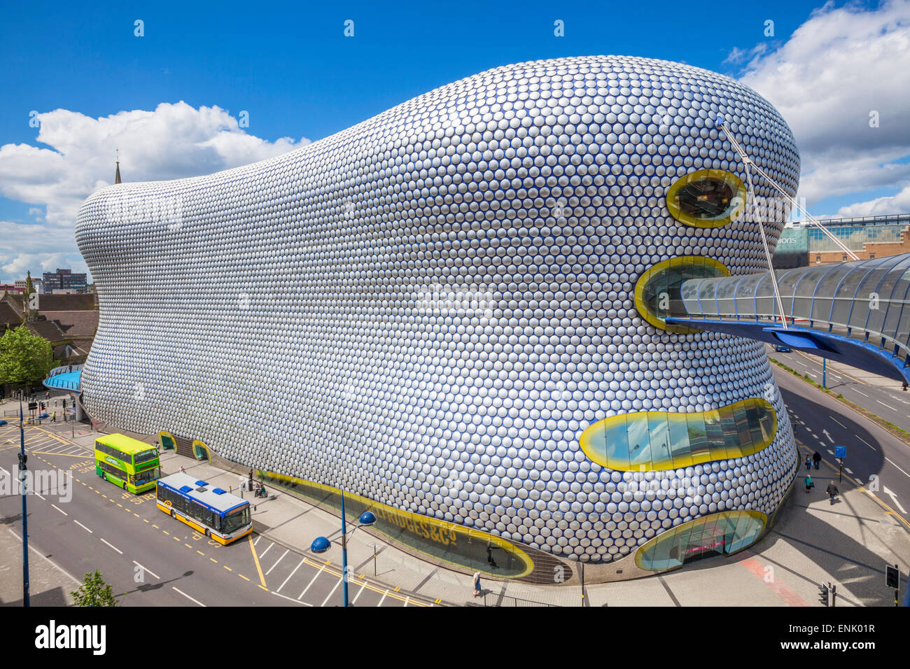 Selfridges department store with buses outside, Birmingham Bull Ring, Birmingham, West Midlands, England, United - Stock Image