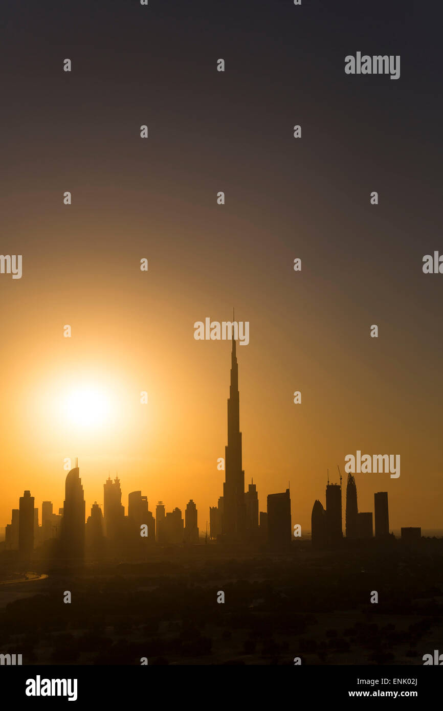 Elevated view of the new Dubai skyline, the Burj Khalifa, modern architecture and skyscrapers on Sheikh Zayed Road, - Stock Image