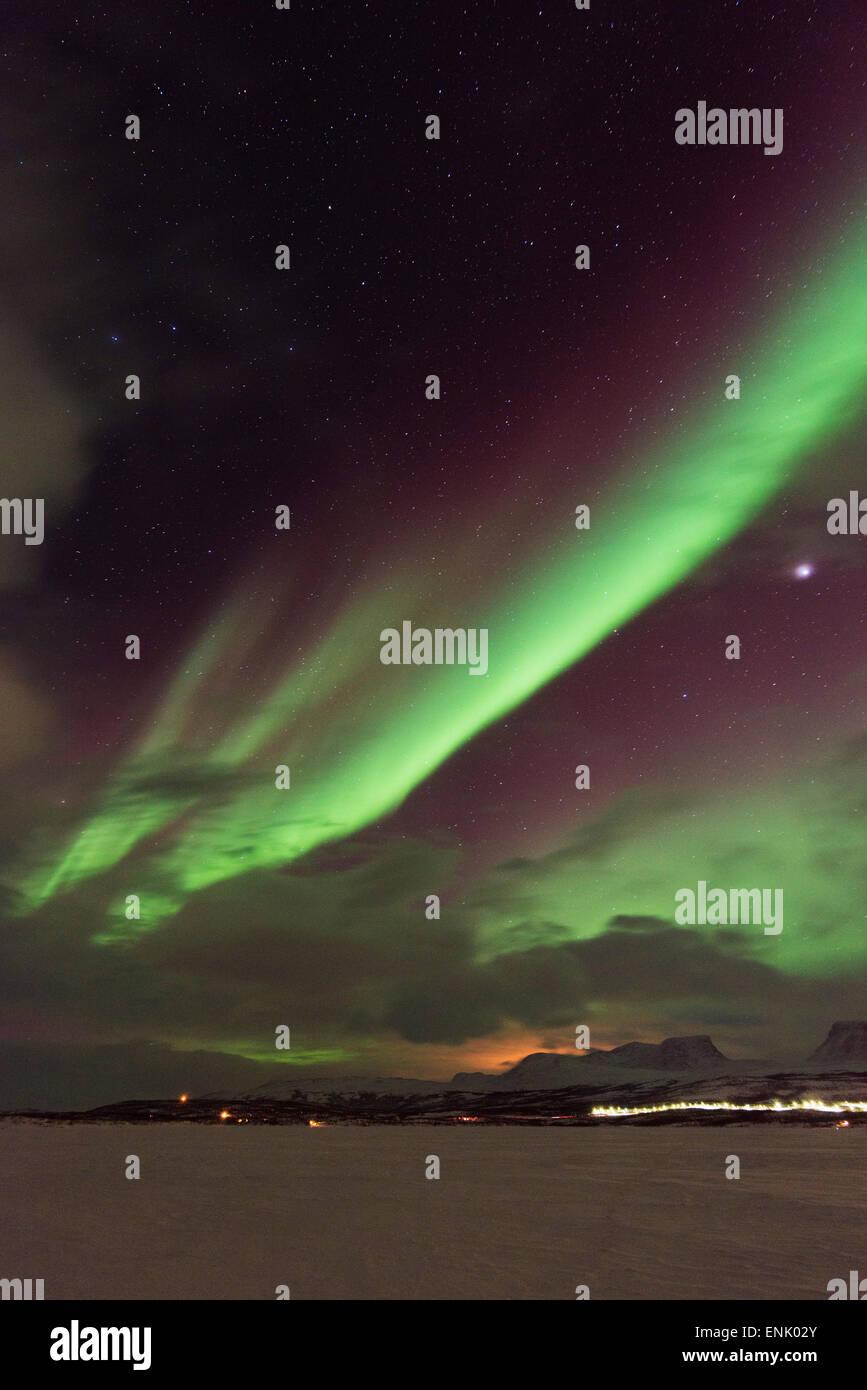 Aurora borealis (Northern Lights), Abisko, Lapland, Arctic Circle, Sweden, Scandinavia, Europe - Stock Image