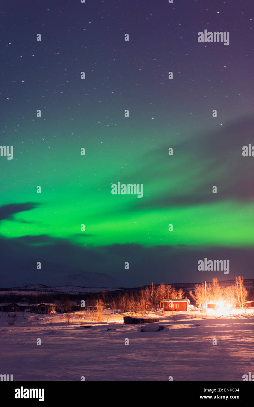 Aurora borealis (Northern Lights), Abisko, Lapland, Arctic Circle, Sweden, Scandinavia, Europe - Stock Image