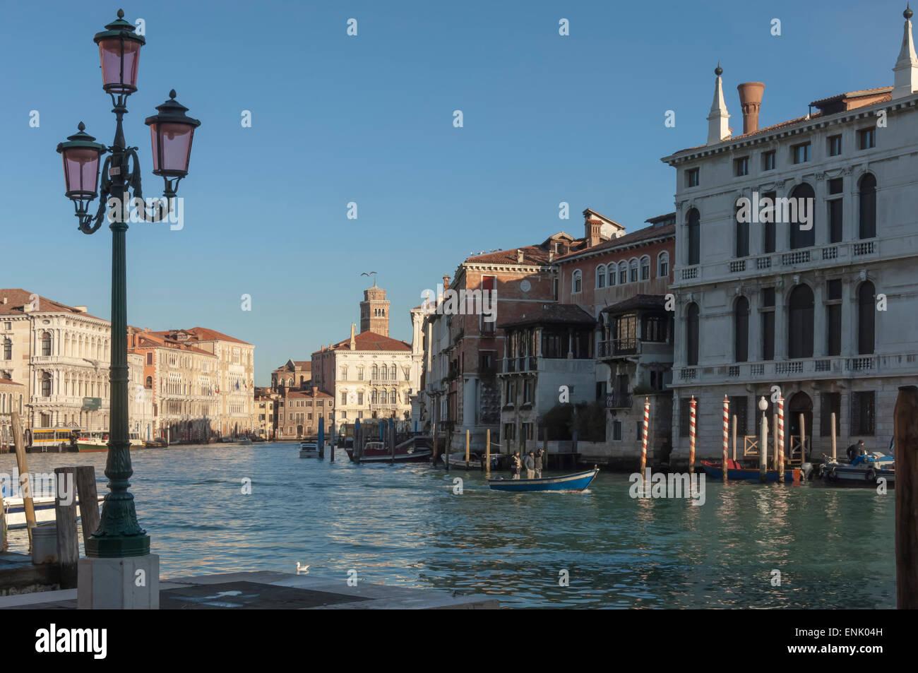Grand Canal, morning, Venice, UNESCO World Heritage Site, Veneto, Italy, Europe - Stock Image