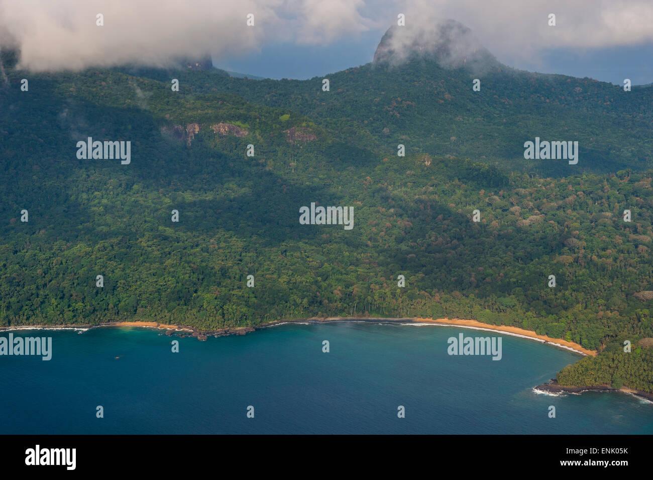 Aerial view of the UNESCO Biosphere Reserve, Principe, Sao Tome and Principe, Atlantic Ocean, Africa - Stock Image