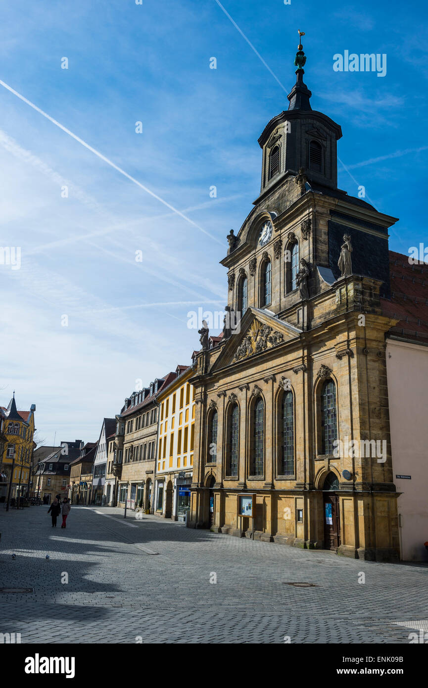 Spital church in the pedestrian zone, Bayreuth, Upper Franconia, Bavaria, Germany, Europe - Stock Image