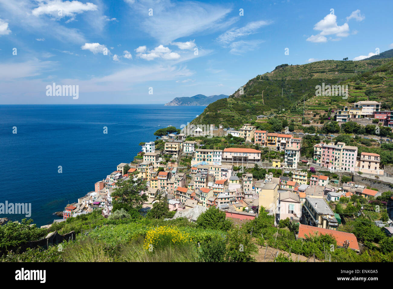 Clifftop village of Riomaggiore, Cinque Terre, UNESCO World Heritage Site, Liguria, Italy, Europe - Stock Image