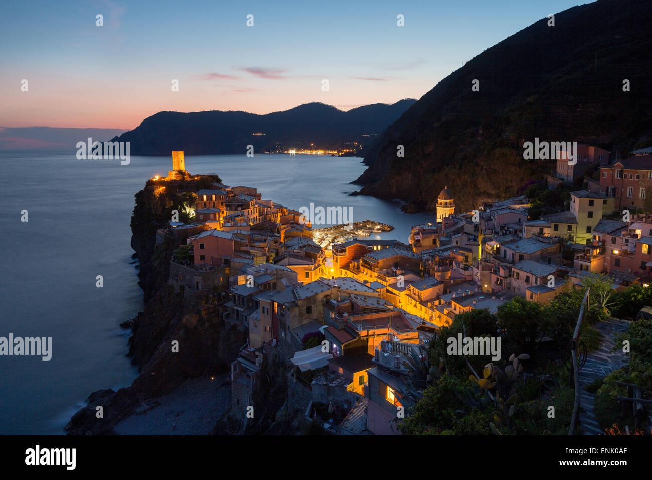 Vernazza in the evening, Cinque Terre, UNESCO World Heritage Site, Liguria, Italy, Europe - Stock Image