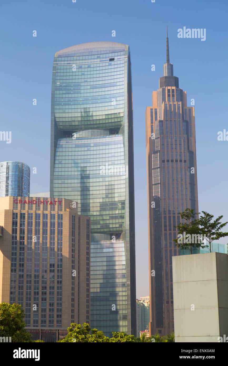 Pearl River Tower in Zhujiang New Town, Tian He, Guangzhou, Guangdong, China, Asia - Stock Image