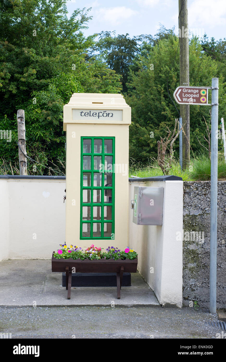 old irish telephone kiosk in grange ireland - Stock Image