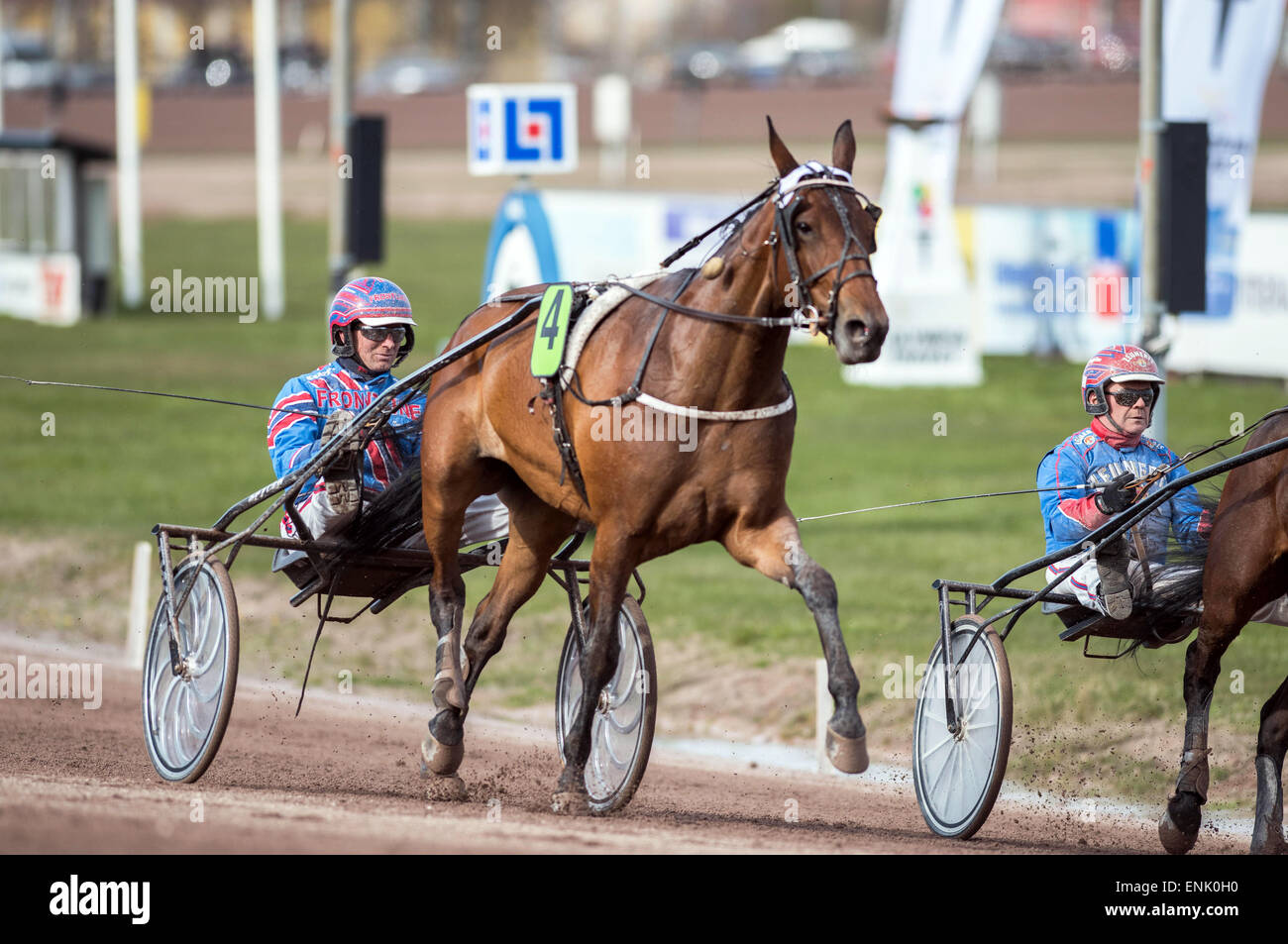 Harness drivers Tomas Pettersson (left) and Torbjörn Jansson preparing horses for a race at Mantorp harness - Stock Image