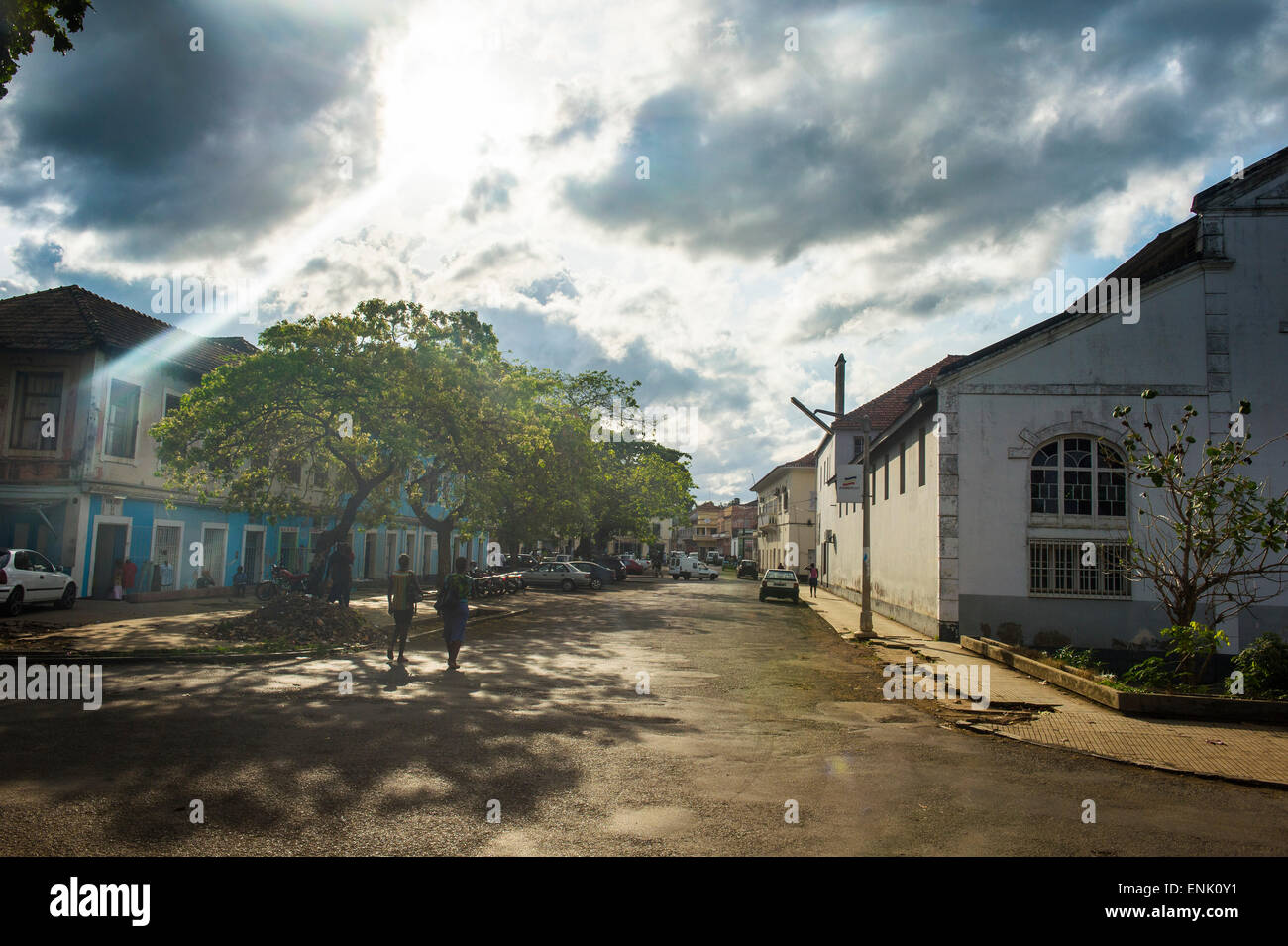 Colonial houses in the city of Sao Tome, Sao Tome and Principe, Atlantic Ocean, Africa - Stock Image