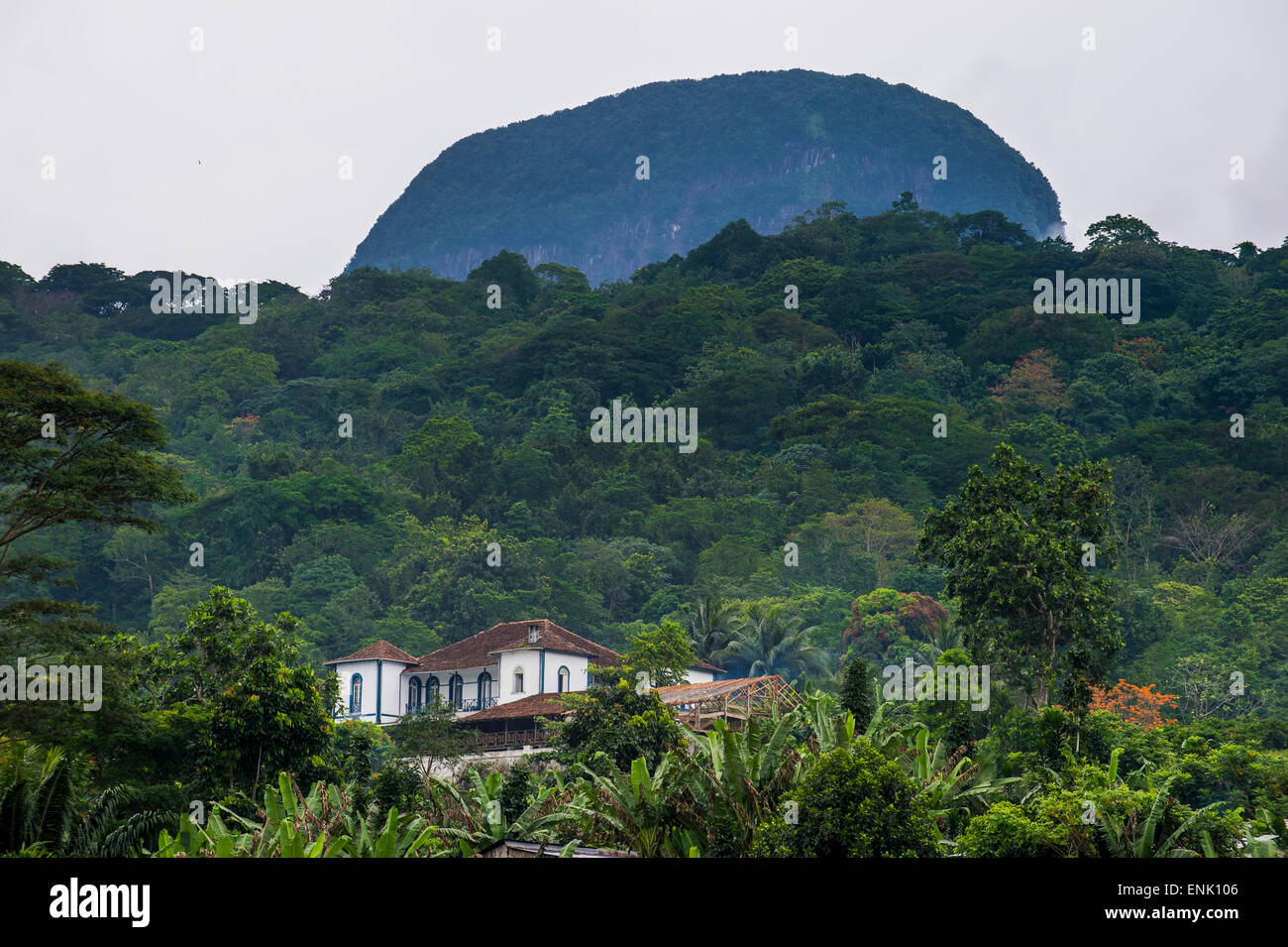 Beautiful Roca de Sao Joao Angolares, east coast of Sao Tome, Sao Tome and Principe, Atlantic Ocean, Africa - Stock Image