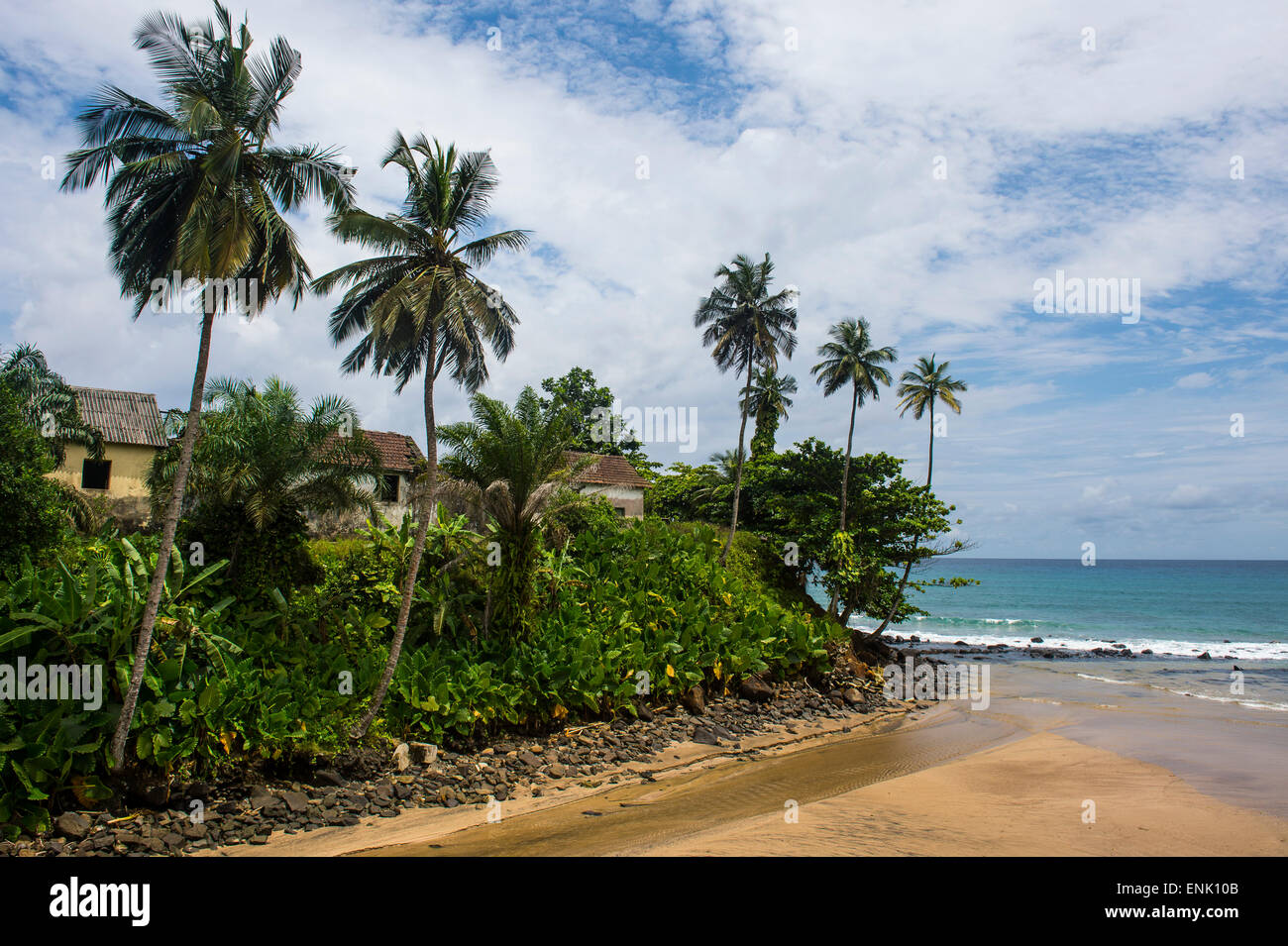 Colonial buildings in Caue, east coast of Sao Tome, Sao Tome and Principe, Atlantic Ocean, Africa - Stock Image