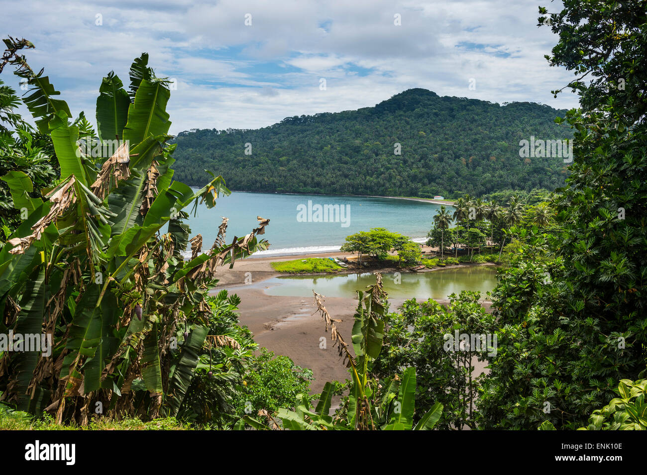View over the bay of Sao Joao dos Angloares, East coast of Sao Tome, Sao Tome and Principe, Atlantic Ocean, Africa - Stock Image