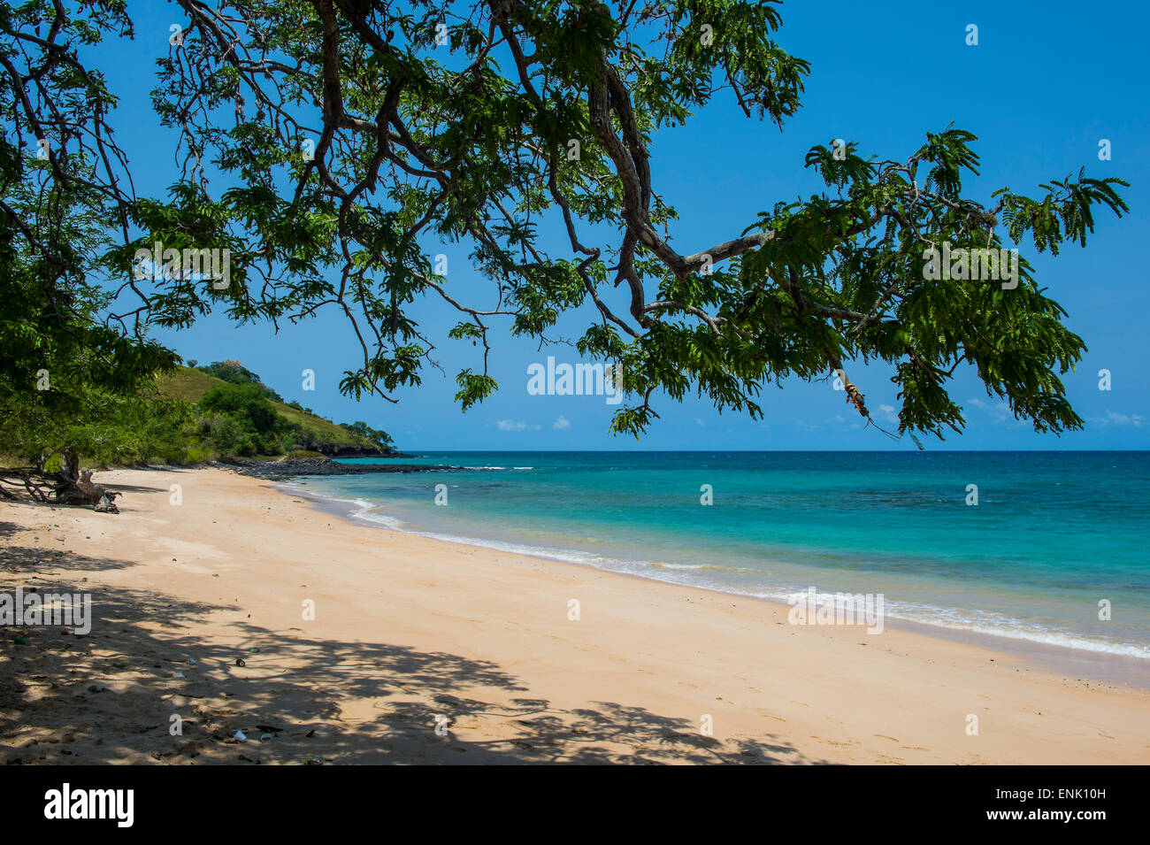 Beach Praia dos Tamarindos in northern Sao Tome, Sao Tome and Principe, Atlantic Ocean, Africa - Stock Image