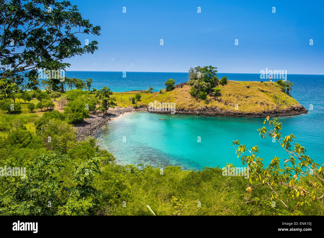 The turquoise waters of Lagoa Azul in northern Sao Tome, Sao Tome and Principe, Atlantic Ocean, Africa - Stock Image