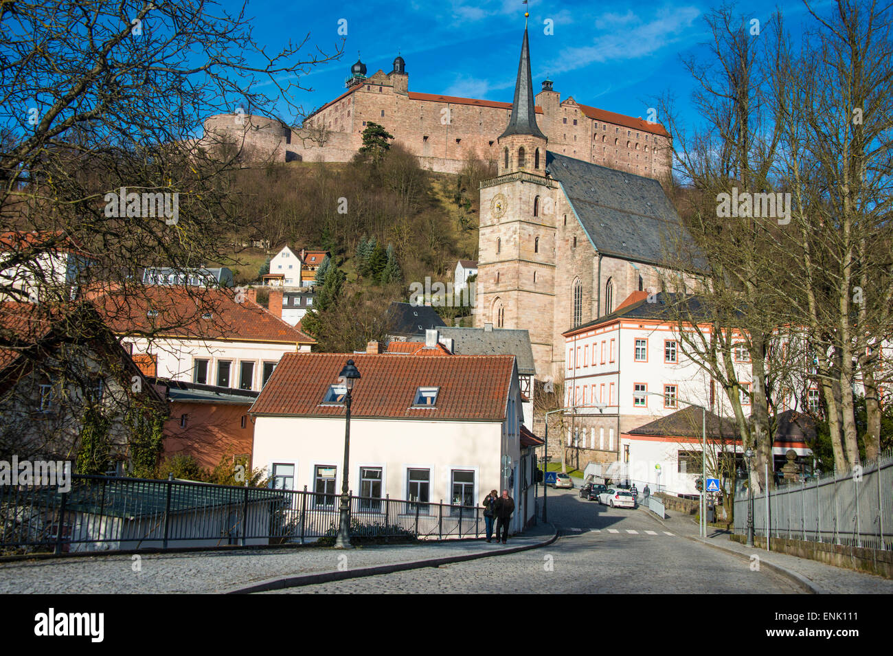 Renaissance castle of Plassenburg with church of St..Petri in the foreground, Kulmbach, Upper Franconia, Bavaria, - Stock Image