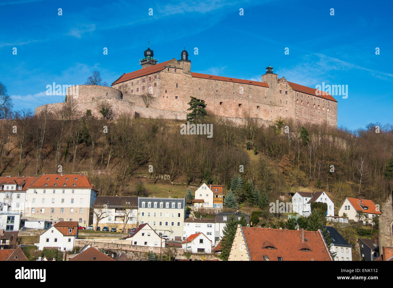 Renaissance castle of Plassenburg with church of St. Petri in the foreground, Kulmbach, Upper Franconia, Bavaria, - Stock Image