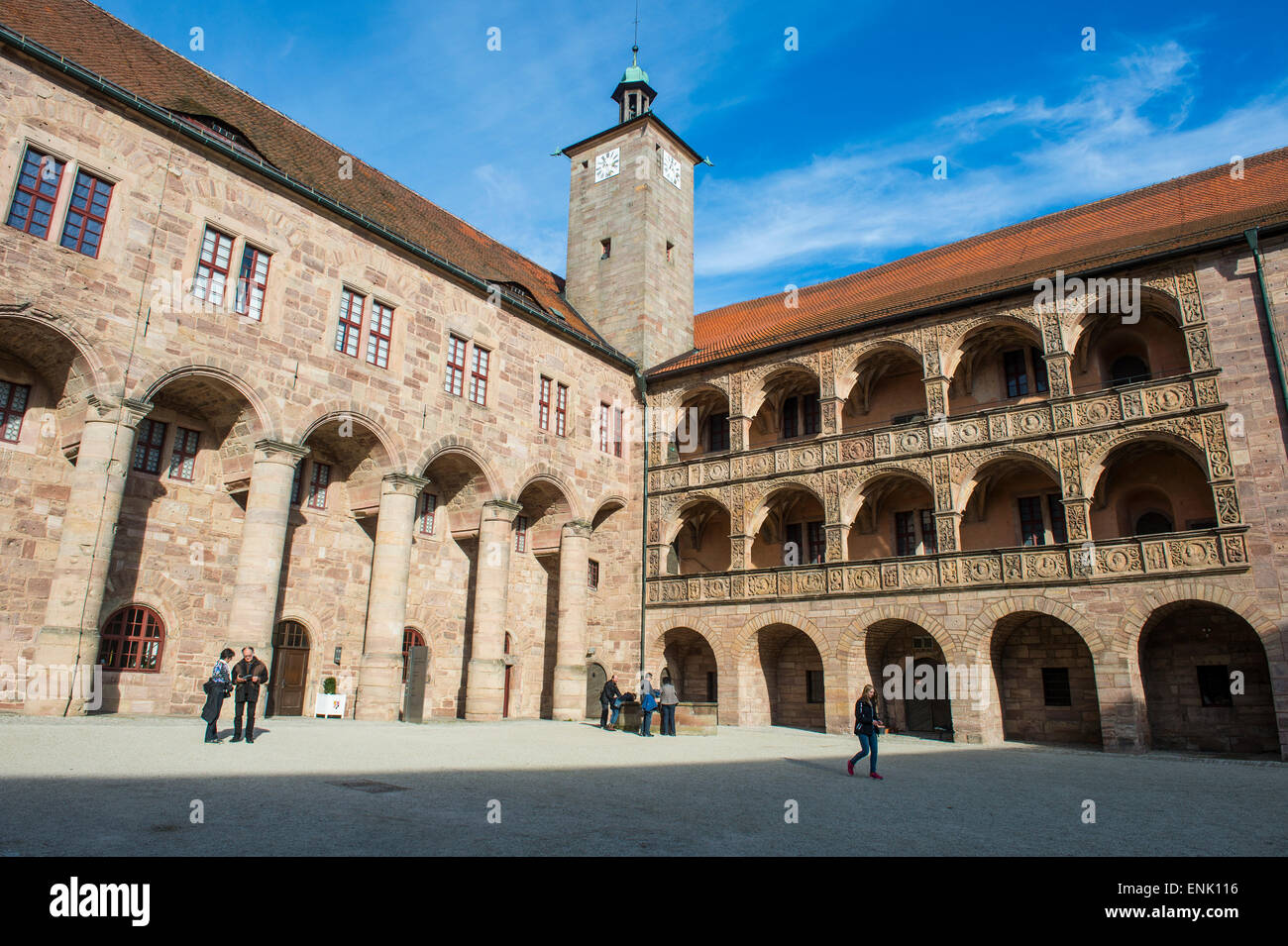Renaissance inner court of the Plassenburg Castle, Kulmbach, Upper Franconia, Bavaria, Germany, Europe - Stock Image