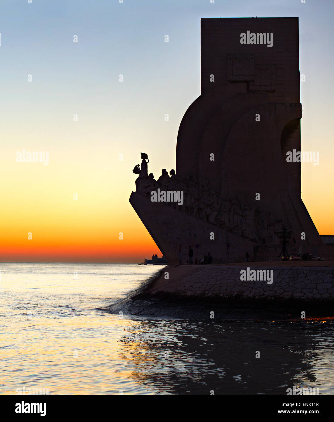Discoveries Monument in Lisbon at sunset, Portugal - Stock Image