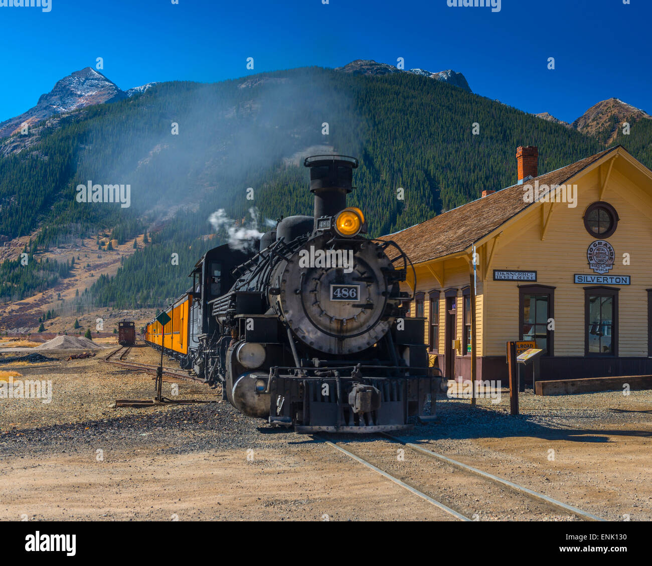 Railway Station for Durango and Silverton Narrow Gauge Railroad, Silverton, Colorado, United States of America, - Stock Image
