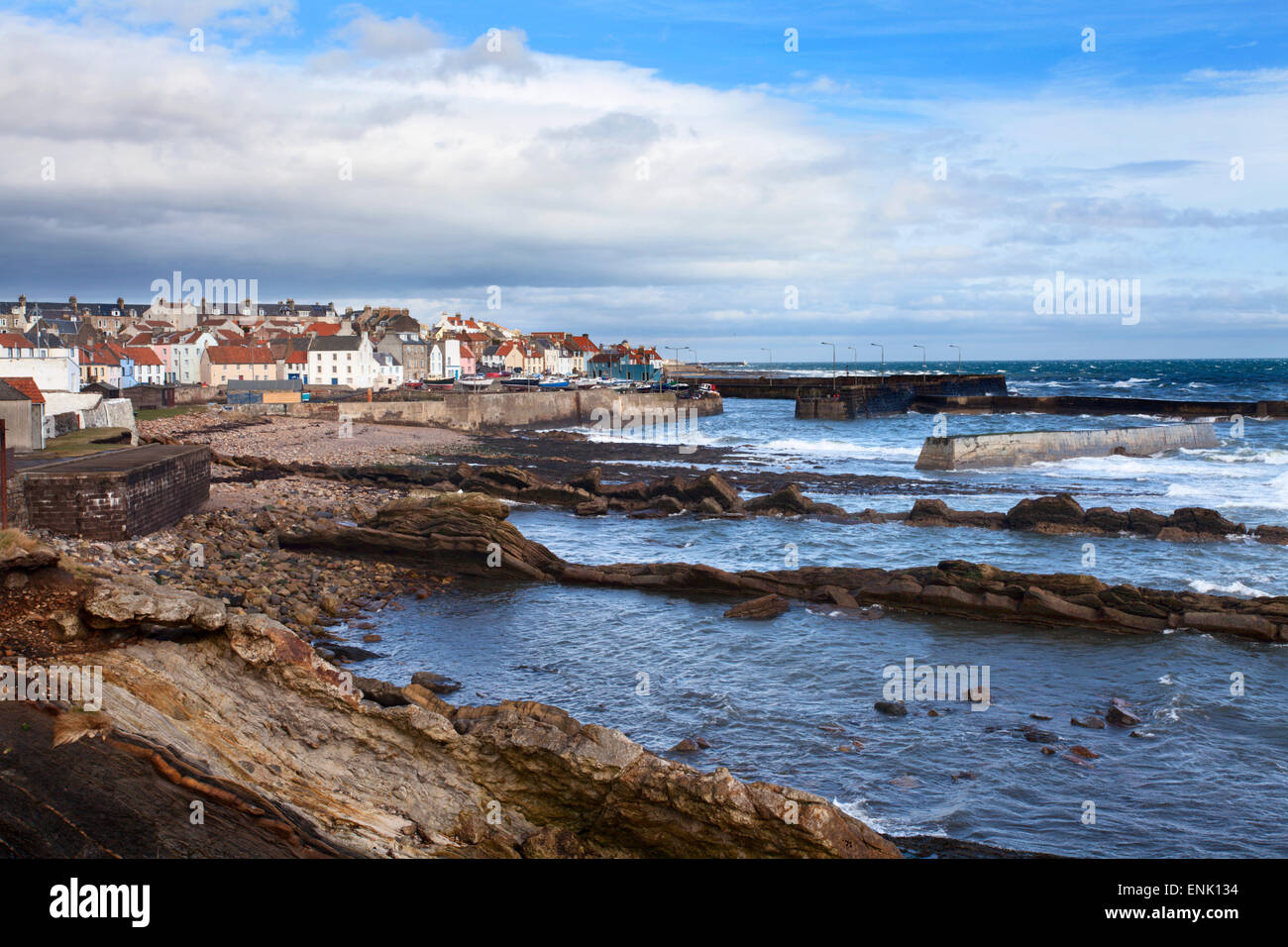 St. Monans fishing village and harbour from the Fife Coast Path, Fife, Scotland, United Kingdom, Europe - Stock Image